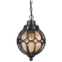 ELK Lighting Madagascar 1 Light Outdoor Pendant in Matte Black with Tea Glass 87023/1