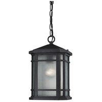 ELK Lighting Lowell 1 Light Outdoor Pendant in Matte Black 87043/1