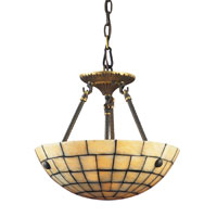 ELK Lighting Stone Mosaic 3 Light Semi-Flush Mount in Dark Antique Brass 8818/3