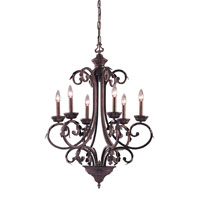 ELK Lighting Wellington 6 Light Chandelier in Dark Rust 88601