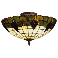 Grapevine 3 Light 16 inch Vintage Antique Semi-Flush Mount Ceiling Light