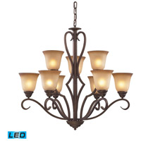 ELK Lighting Lawrenceville 9 Light Chandelier in Mocha 9329/6+3-LED