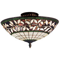 English Ivy 3 Light 16 inch Tiffany Bronze Semi-Flush Mount Ceiling Light