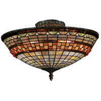 Jewelstone 3 Light 16 inch Classic Bronze Semi-Flush Mount Ceiling Light