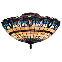Victorian Ribbon 3 Light 16 inch Classic Bronze Semi-Flush Mount Ceiling Light