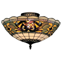 Tiffany Buckingham 3 Light 16 inch Vintage Antique Semi-Flush Mount Ceiling Light