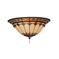 Diamond Ring 2 Light 14 inch Burnished Copper Flush Mount Ceiling Light in Tiffany J Glass