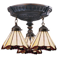 ELK 997-AW-03 Mix-N-Match 3 Light 14 inch Aged Walnut Semi Flush Mount Ceiling Light in Tiffany 03 Glass, Incandescent