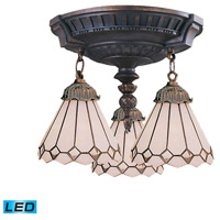 ELK 997-AW-04-LED Mix-N-Match LED 14 inch Aged Walnut Semi Flush Mount Ceiling Light in Tiffany 04 Glass