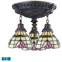 ELK 997-AW-09-LED Mix-N-Match LED 14 inch Aged Walnut Semi Flush Mount Ceiling Light in Tiffany 09 Glass