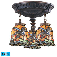 ELK 997-AW-12-LED Mix-N-Match LED 14 inch Aged Walnut Semi Flush Mount Ceiling Light in Tiffany 12 Glass