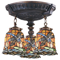 Mix-N-Match 3 Light 14 inch Aged Walnut Semi Flush Mount Ceiling Light in Tiffany 12 Glass, Incandescent