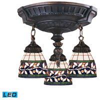 ELK 997-AW-13-LED Mix-N-Match LED 14 inch Aged Walnut Semi Flush Mount Ceiling Light in Tiffany 13 Glass