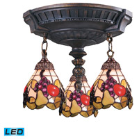 ELK 997-AW-19-LED Mix-N-Match LED 14 inch Aged Walnut Semi Flush Mount Ceiling Light in Tiffany 19 Glass