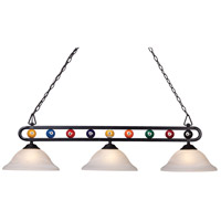Signature 3 Light 51 inch Matte Black Billiard Light Ceiling Light