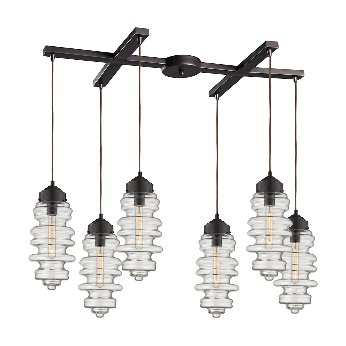 elk lighting cipher 6 light pendant in oil rubbed bronze 172