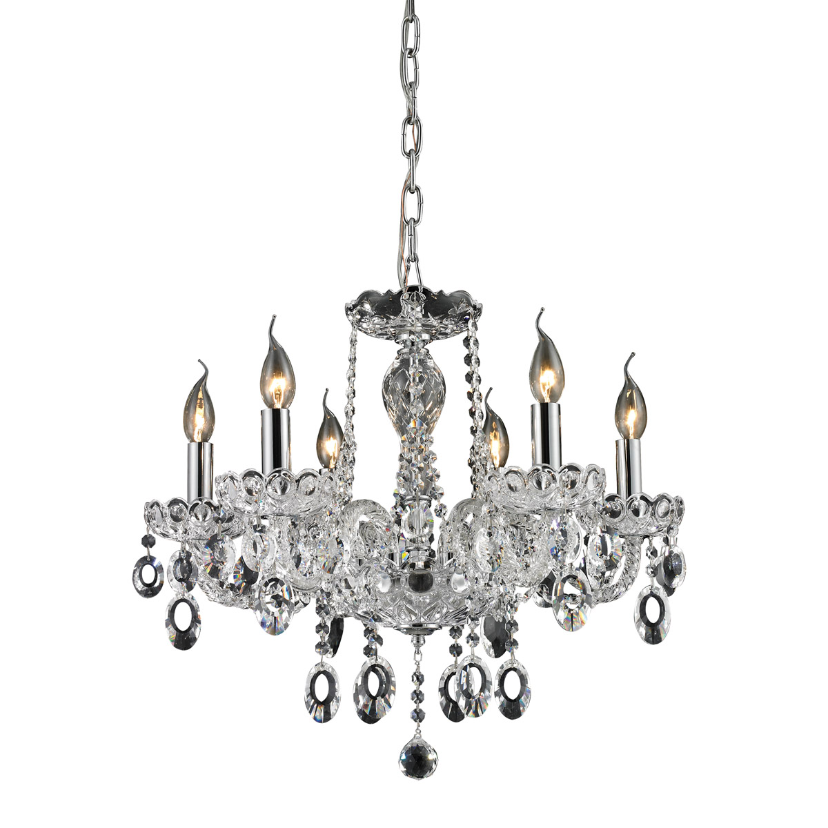 nulco by elk lighting balmoral  light chandelier in clear   - responsive image