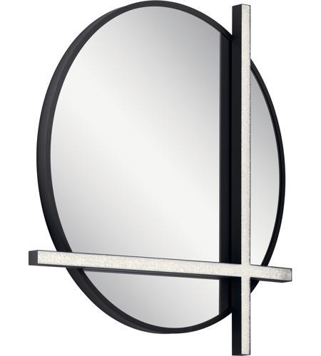 Elan 84163 Kemena 26 X 24 Inch Matte Black Lighted Mirror