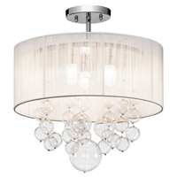 Imbuia 3 Light Chrome Semi-Flush Ceiling Light