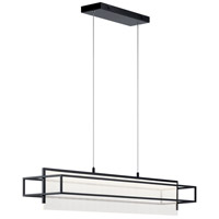 Elan 84051 Vega 1 Light 8 inch Matte Black Linear Pendant Ceiling Light