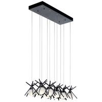 Elan 84062 Beale 10 Light 12 inch Matte Black Pendant Cluster Ceiling Light Rectangular