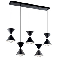 Elan 84113 Kordan 5 Light 8 inch Matte Black and Polished Nickel Linear Pendant Ceiling Light
