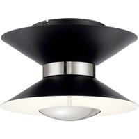 Elan 84132 Kordan Matte Black and Polished Nickel Flush Mount Ceiling Light