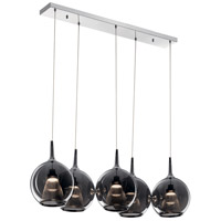 Elan 84154 Zin 5 Light Chrome Linear Pendant Cluster Ceiling Light