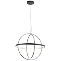 Elan 84162 Arvo LED 32 inch Matte Black Chandelier Ceiling Light, 1 Tier Large