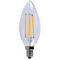 E12LED Series Filament LED B10 E12 4 watt 120V 3000K Light Bulb, Pack of 10