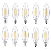 Elitco Lighting E12LED125-10PK Kerz LED B10 Filament LED E12 6 watt 120V 5000K Light Bulb Pack of 10