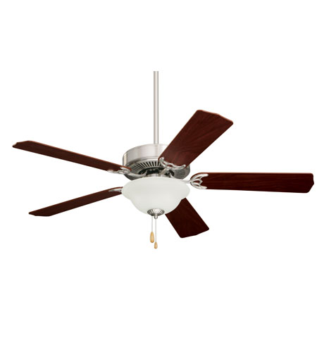 Emerson Fans Pro Series Builder Unipack 2 Light Ceiling Fan in Brushed Steel with Dark Cherry/Mahogany Blades CF701BS photo