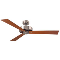 Keane 52 inch Brushed Steel Natural Cherry/Walnut Indoor Ceiling Fan