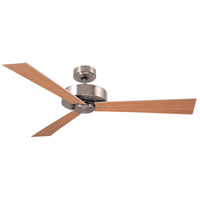 Keane 52 inch Brushed Steel with Satin White/Maple Blades Ceiling Fan