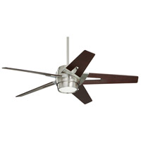 Luxe Eco 54 inch Brushed Steel with Dark Mahogany Blades Indoor Ceiling Fan