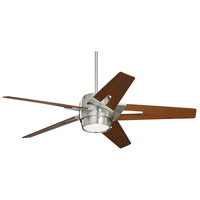 Luxe Eco 54 inch Brushed Steel with Walnut Blades Indoor Ceiling Fan