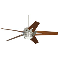 Luxe Eco 54 inch Brushed Steel with Walnut Blades Ceiling Fan