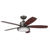 Rockpointe 54 inch Vintage Steel with Walnut Blades Indoor/Outdoor Ceiling Fan