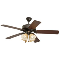 Emerson Fans 50in Pro Series II 4 Light Ceiling Fan in Oil Rubbed Bronze with Dark Cherry/Medium Oak Blades CF711ORS