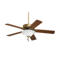 Pro Series 50 inch Antique Brass with Medium Oak/Walnut Blades Ceiling Fan in Opal Matte