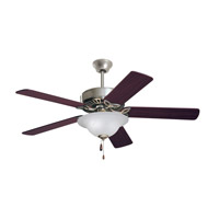 Pro Series 50 inch Brushed Steel with Dark Cherry/Mahogany Blades Ceiling Fan in Opal Matte