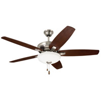 Ashland 52 inch Brushed Steel with Dark Cherry/Walnut Blades Ceiling Fan