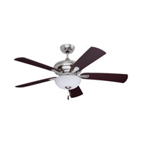 Monterey Lumina 52 inch Brushed Steel Dark Cherry/Mahogany Ceiling Fan in Opal Matte