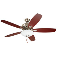 Emerson CF835BS DC Builder 52 inch Brushed Steel with Dark Mahogany/Walnut Blades Indoor Ceiling Fan Pro Series