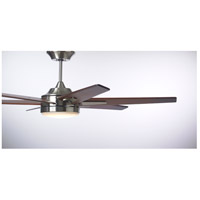 Rah Eco 60 inch Brushed Steel with Sunburst Walnut Blades Indoor Ceiling Fan