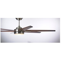 Rah Eco 72 inch Brushed Steel with Sunburst Walnut Blades Indoor Ceiling Fan