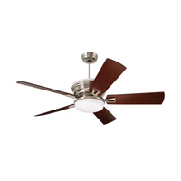 Portland Eco 54 inch Brushed Steel with Dark Mahogany/Walnut Blades Ceiling Fan