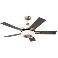 Laclede Eco 62 inch Brushed Steel with Dark Mahogany/Charcoal Blades Ceiling Fan in Opal Matte