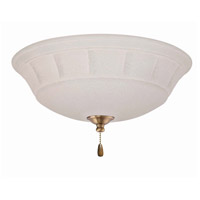 Grande White 3 Light Antique Brass Fan Light Kit