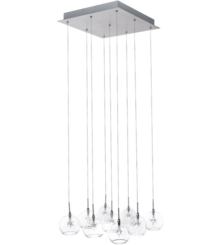 ET2 E20106-24 Starburst 9 Light 16 inch Satin Nickel and Polished Chrome Pendant Ceiling Light in Clear photo